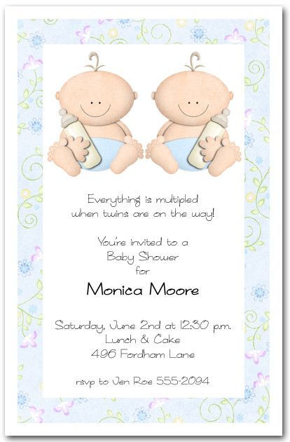 babycakes twin boy baby shower invitations, Baby shower invitations