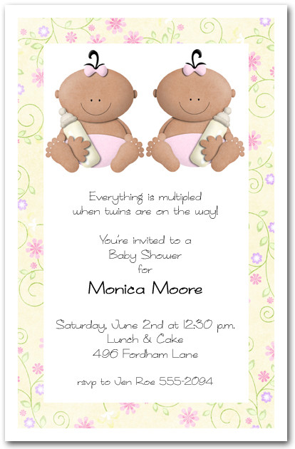 Babycakes Ethnic Twin Girls Baby Shower Invitation – Cute Baby Announcements Sayings