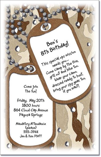 dog tags invitations, military invitations, kids camo birthday, Birthday invitations