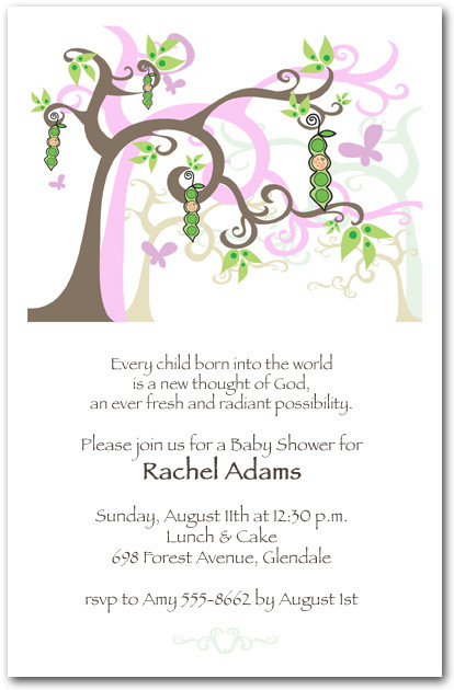 Home Baby Baby Shower Invitations Girl Peapod Tree
