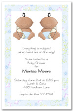 Babycakes Ethnic Twin Boy Baby Shower Invitations
