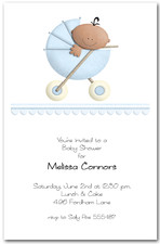 Stroller Ethnic Boy Baby Shower Invitations