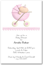 Stroller Girl Baby Shower Invitations