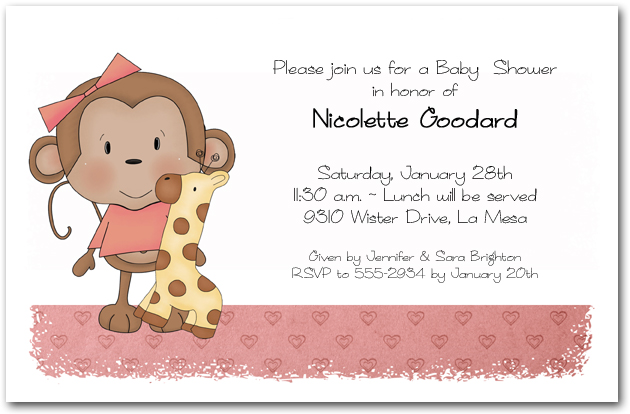 girl baby monkey baby shower invitations, Baby shower invitations