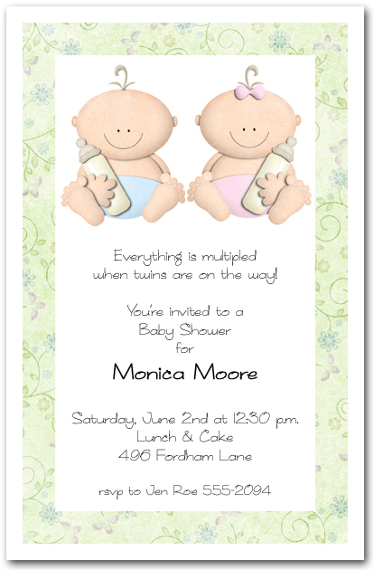 babycakes twin girl and boy baby shower invitations,