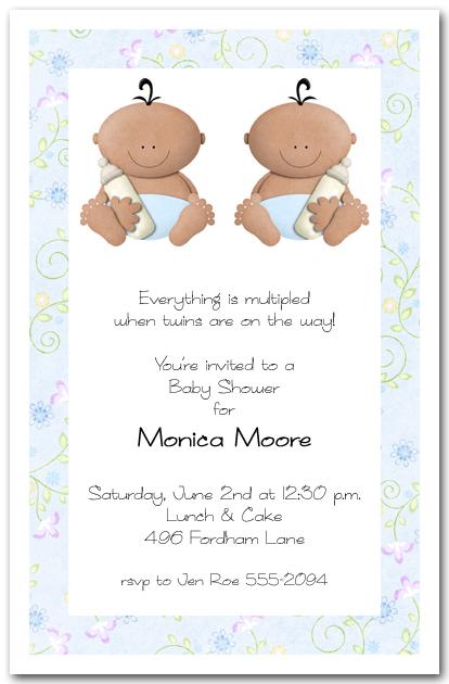 Babycakes Ethnic Twin Boy Baby Shower Invitations