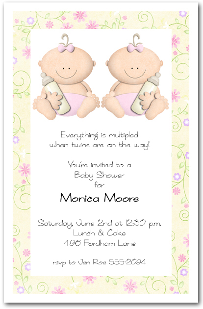 babycakes twin girls baby shower invitation, Baby shower invitations