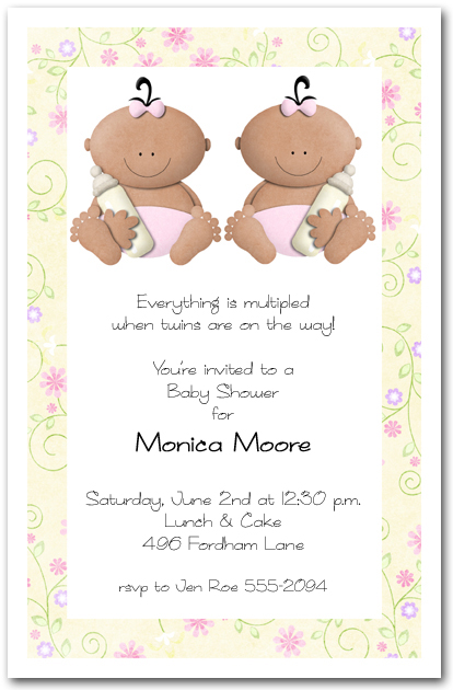 babycakes ethnic twin girls baby shower invitation,