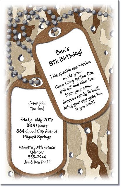 Camouflage Birthday Invitations Katinabags – Hunting Party Invitations