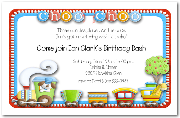 Second Birthday Party Invitations – Train Birthday Invitation Wording