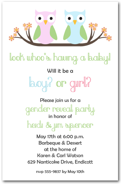 Owl Gender Reveal Baby Shower Invitations