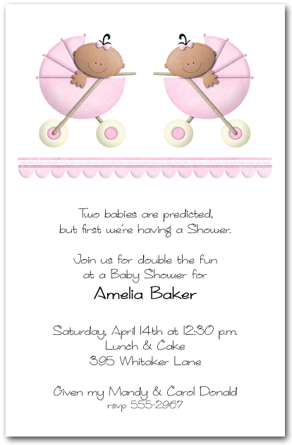 ethnic stroller twin girls baby shower invitations,