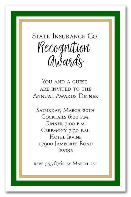 Green and Gold Border Business Awards Party Invitations