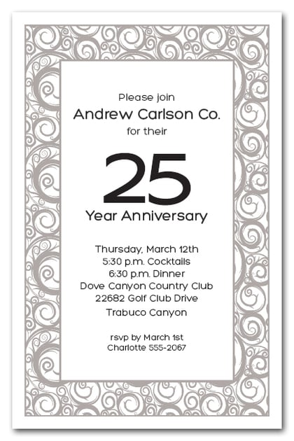 Silver Swirls on White Business Party Invitations