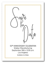 Brisk Gold Border Business Save the Date