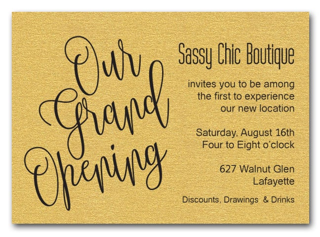 Gold Sparkle Grand Opening Business Invitations