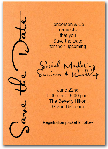 Shimmery Orange Business Save The Date Cards Corporate