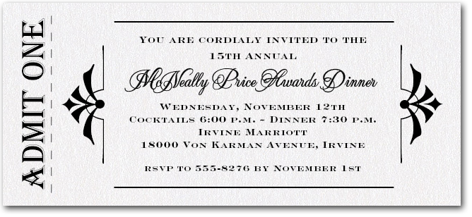 Awards Ceremony Invitations Business Service Awards Party Invitations – Formal Business Invitation