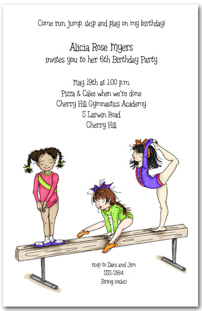 Balance Beam Gymnastics Party Invitation Gymnastics Invitations – Gymnastics Party Invitation