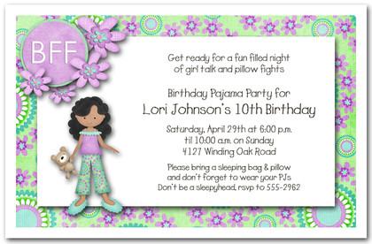Dark Skin Girl Pajama Party Sleepover Invitations Girls Birthday