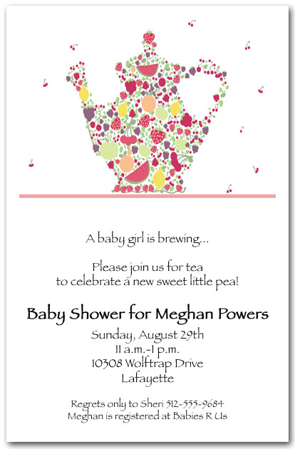 Fruit Teapot Invitation Tea Party Invitation Bridal Shower Tea – Invitation to Tea Party
