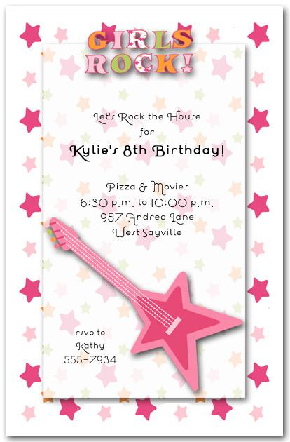 Girls Rock Pink Guitar Popstar Birthday Invitations – Birthday Invites for Girls