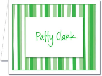 Note Cards: Mod Stripe Green