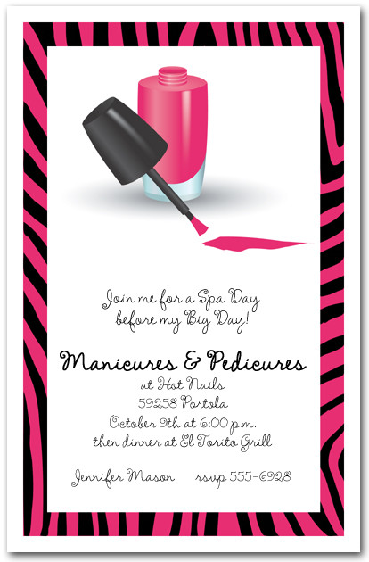 manicures and pedicures on zebra print border invitations, Birthday invitations
