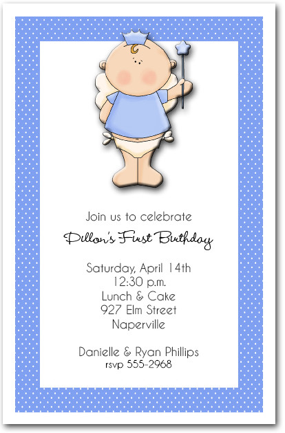 Little Angel Prince Boys First Birthday Party Invitations – Prince Party Invitations
