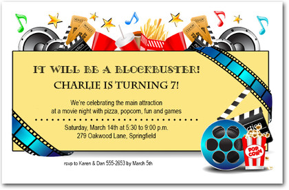 Movie Night Blockbuster Party Invitations