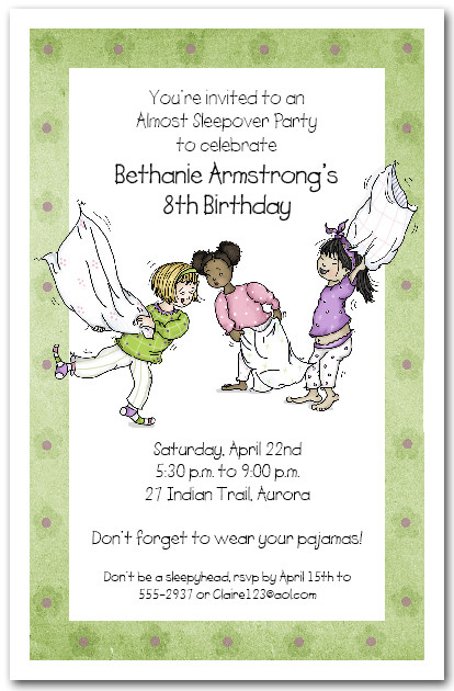 Slumber Party Invitations Sleepover Invitations Pajama Party – Spa Slumber Party Invitations