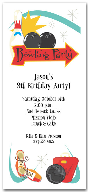 Retro Bowling Invitation Bowling Birthday Invite