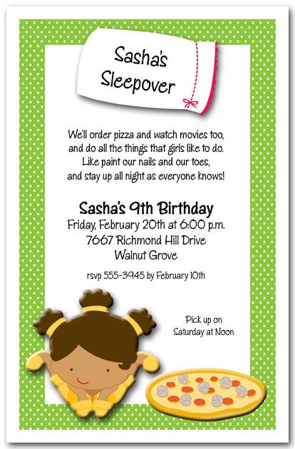 Sleepover Girls Party Invitation Pajama Party Birthday Invitation