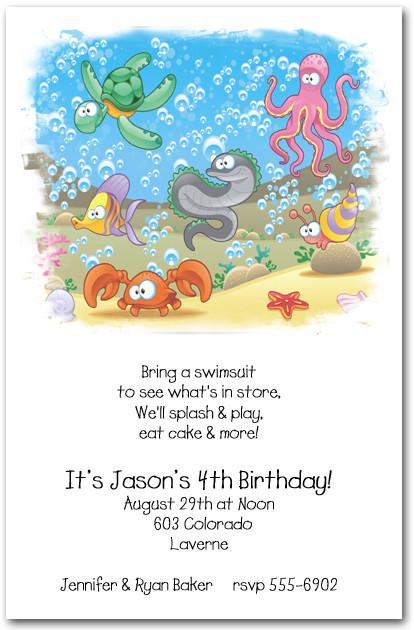 Sea Life Party Invitations Under the Sea Birthday Party Invitations