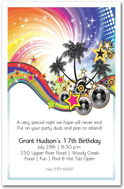 Summer Music Party Invitation Teenage Birthday Party Invitations – End of Summer Party Invitations