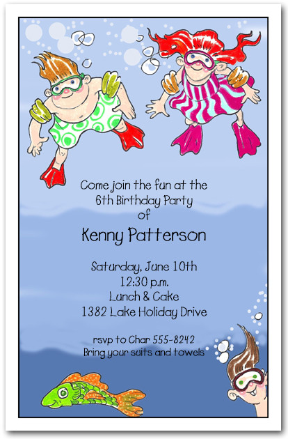 Underwater Swim Kids Party Invitations Swim Party Invitations – Swim Party Invitations