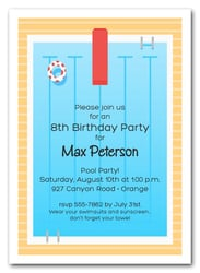 Kids Pool Party Invitations Beach Invitations Swim Party