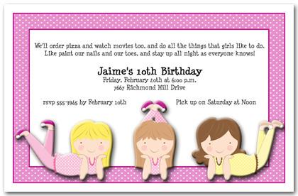 Girl birthday party sleepover