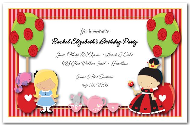 alice's tea party invitations, alice in wonderland birthday, Party invitations