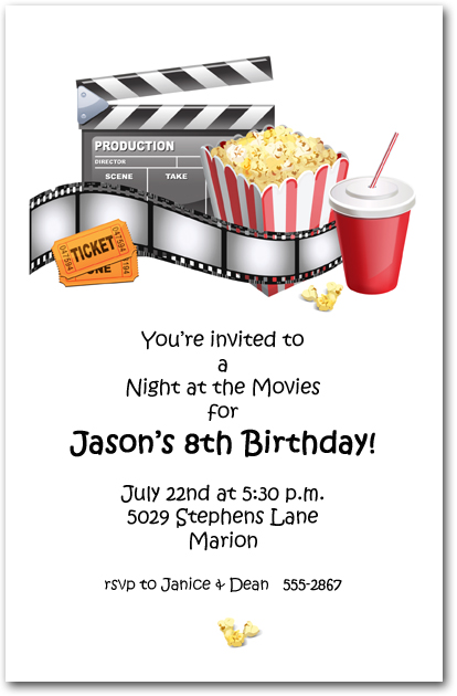 at the movies party invitations movie birthday party invitations. Black Bedroom Furniture Sets. Home Design Ideas
