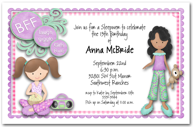 BFF Sleepover Girls Party Invitations Teenage Birthday Invitations – Sleepover Birthday Party Invitations