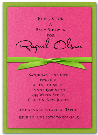 Shimmery Green And Hot Pink Layered Invitations