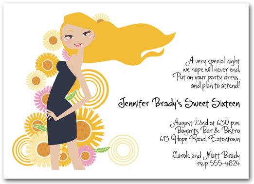 sweet sixteen birthday party invitations, th birthday, sixteenth, Party invitations