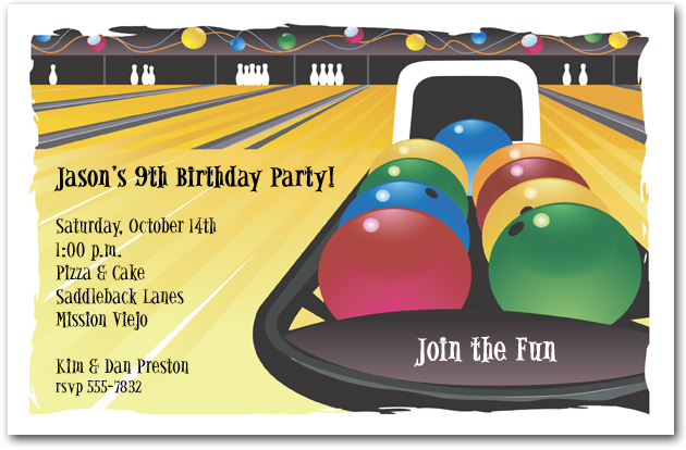 Childrens Sports Party Invitations Kids Sports Birthday Invitations – Bowling Invitation Template