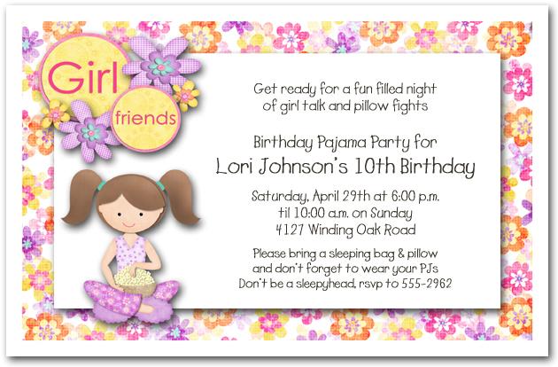 Brown Hair Girl Pajama Party Sleepover Invitations Birthday