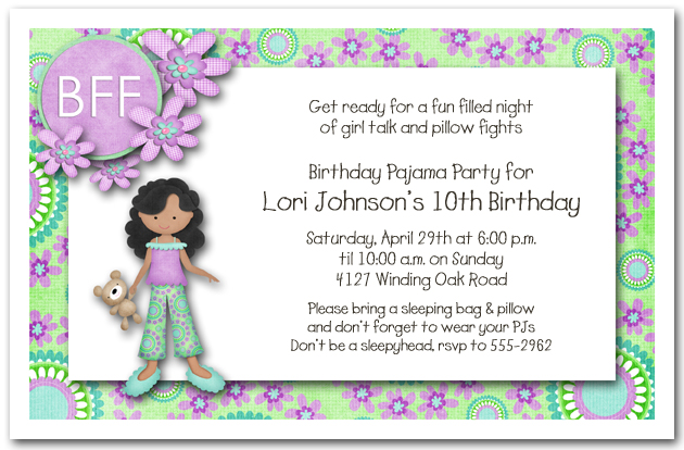 Dark Skin Girl Pajama Party Sleepover Invitations Girls Birthday – Sleepover Birthday Party Invitations