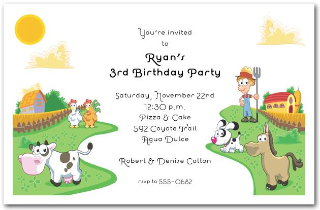 farmer in the dell invitations, farm animals birthday invitations, Birthday invitations
