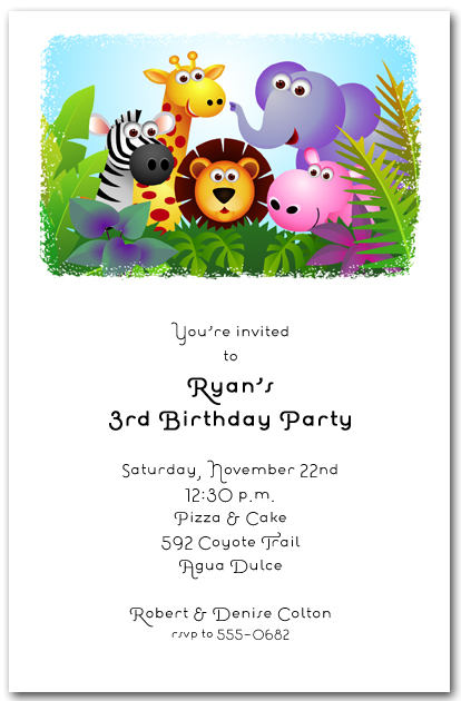 Fun in the Jungle Birthday Invitations Safari Birthday Invitations – Jungle Birthday Invitations