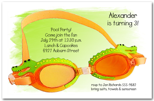 Gator Swim Goggles Party Invitations – Swim Party Invitations