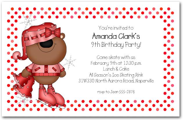 Girl Bear Ice Skating Invitations Skating Birthday Invitations – Ice Skating Party Invitations